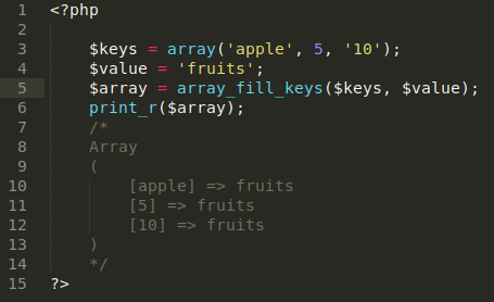 PHP array_fill_keys Function Diagram